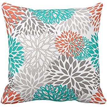 Amazon Emvency Throw Pillow Cover Orange Gray And Turquoise Magnificent Orange And Teal Decorative Pillows