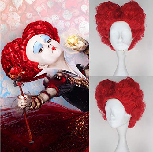 Blue Bird Alice's Adventures in Wonderland Red Queen Anime Cosplay Wig Synthetic Short Curly Red Hair for Women Girls Halloween Anime -