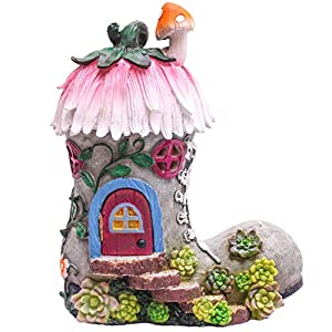 teresas collections solar fairy house boot garden statues with lights outdoor cottage resin sculptures figurines lawn ornaments for patio yard porch decorations 88 inch