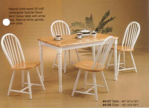 Solid Wood Natural & White Dining Set Table & 4 Chairs