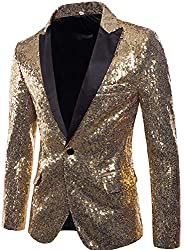 Men's Shiny Sequins One Button Suit Jacket