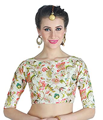 Studio Shringaar Women's Polyester Digital Printed Blouse with Boat Neck