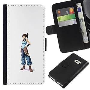 JackGot ( Blue Warrior Girl ) Samsung Galaxy S6 EDGE (NOT S6) la tarjeta de Crédito Slots PU Funda de cuero Monedero caso cubierta de piel