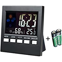 Indoor Thermometer Hygrometer Humidity Monitor Digital Temperature Gauge Humidity Meter with Alarm Clock,Calendar,Voice Control Backlight (2 Batteries Included)
