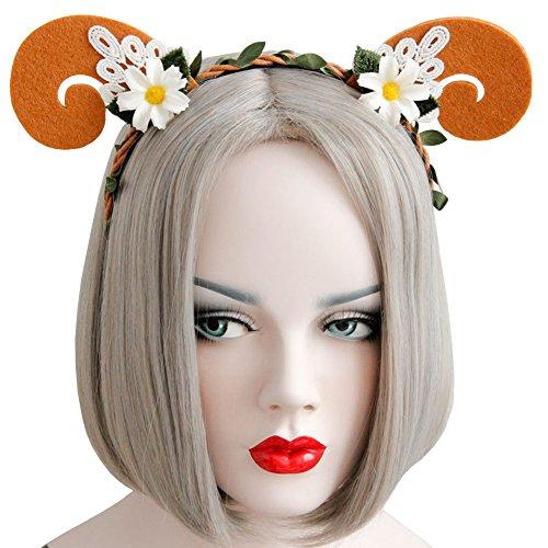 Scala New Arrival Lace Goat Horn Ear Gold Headband Girls Hair Band New Head Wrape Womens Girls Hair Accessories Princess Cartoon Headband (Orange)