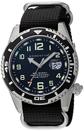 Water Resistant Sapphire Crystal Watch - Men's Sports Watch | M50 Nylon Dive Watch by Momentum | Stainless Steel Watches for Men | Sapphire Crystal Analog Watch with Japanese Movement | Water Resistant (500M/1650FT) Classic Watch - Black / 1M-DV52B7B