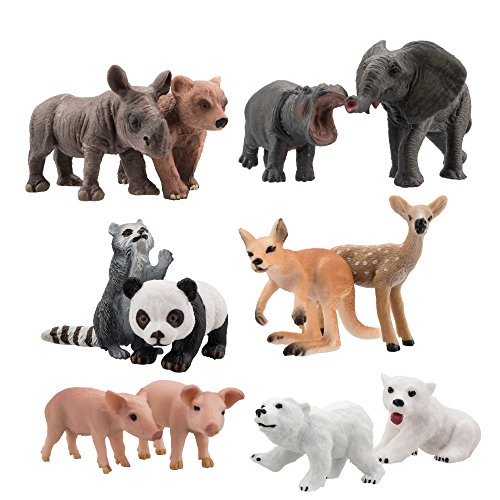 TOYMANY 12PCS Animal Babies Figurine, High Emulational Detailed Cute Baby Animals Figure, Excellent Education Gift Toy Set For Kids Children