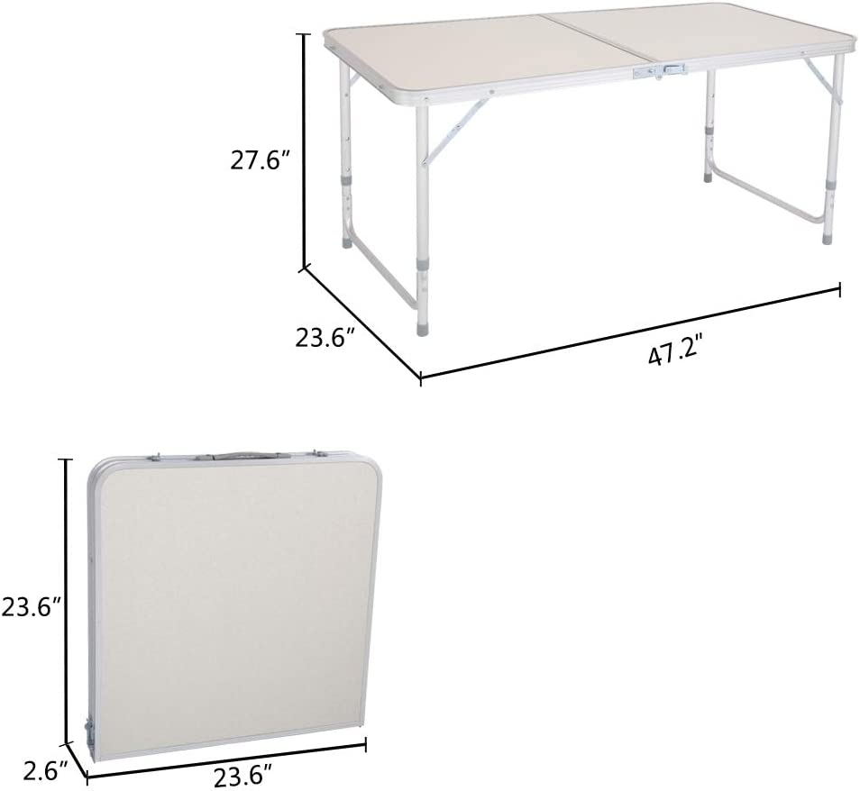 Large Adjustable Height Lightweight Portable Indoor Outdoor Picnic Beach Camping Dining Table White 70.86 x 23.62 inch Aluminum Utility Suitcase Desk Binrrio 6 Foot Folding Table