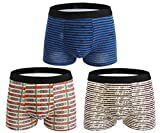 Seaoeey Boys Mens Boxer Briefs 3 Pack Cotton Modern Breathable Underwear Mix Color4 X-Large