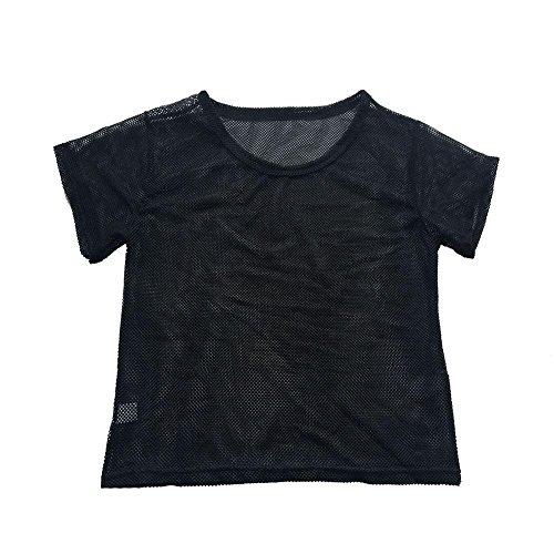 Fitness Reizvoller Damen Tops Shirt Crop Sport T Tops GJKK Tanzen Shirt Perspektive Meshed Shirt Schwarz Schwarz V Bluse Sommershirt Damen Sommertop Vertuschen Ausschnitt Mesh Kurz ZtwRExdqR