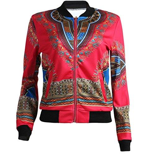 Kulywon Women African Print Long Sleeve Dashiki Short Jacket (L, Hot Pink) by Kulywon (Image #2)