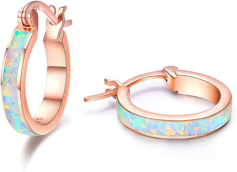 Plata de ley 925 Pendientes de aro pequeños de chapado en oro rosa pendientes bisagras de ópaloCírculo fino con bisagras pendientes de ópalo lindo regalo para niñas Stud