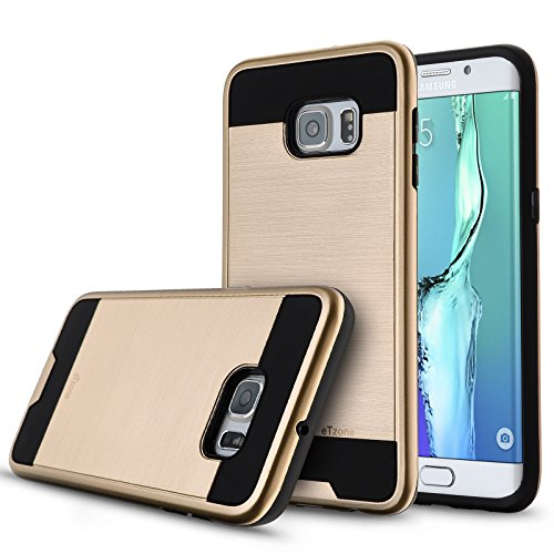 Galaxy S6 Edge Plus Case,eTzone [Shield Series] Samsung Galaxy S6 Edge Plus Cover [Drop Protection] Dual Layer Hybrid Protective Bumper Case [Shock-absorption] for S6 Edge Plus (Steel Brushed Gold)
