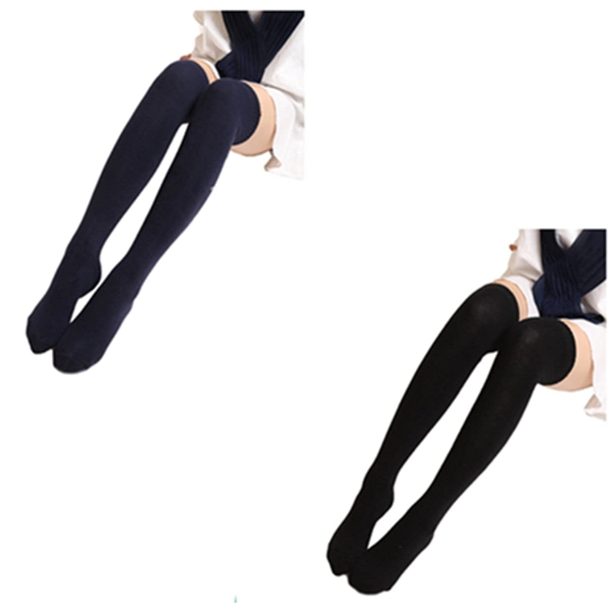 f620a750df2e2 Women's Long Schoolgirl Stockings Cute Ladies Over Knee Socks Thigh High  Schoolgirl Socks Cable Knit Socks 2 Pairs at Amazon Women's Clothing store: