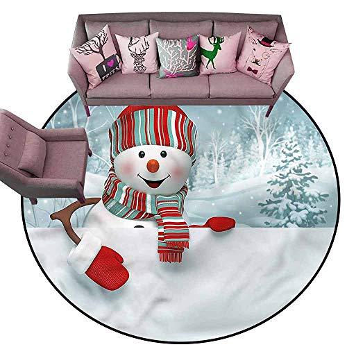 Office Chair Floor Mat Foot Pad Snowman,Smiling 3D Mascot Trees Diameter 54