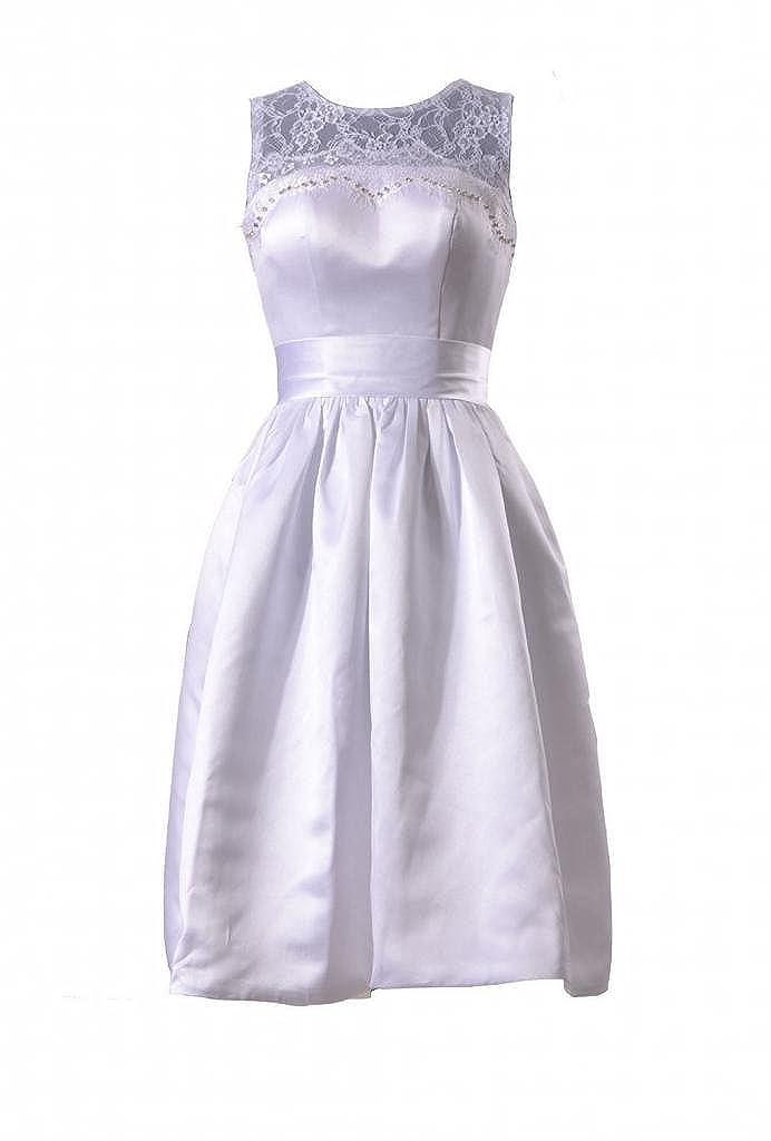 Daisyformals Short Satin Wedding Dress Wlace Illusion Neckline