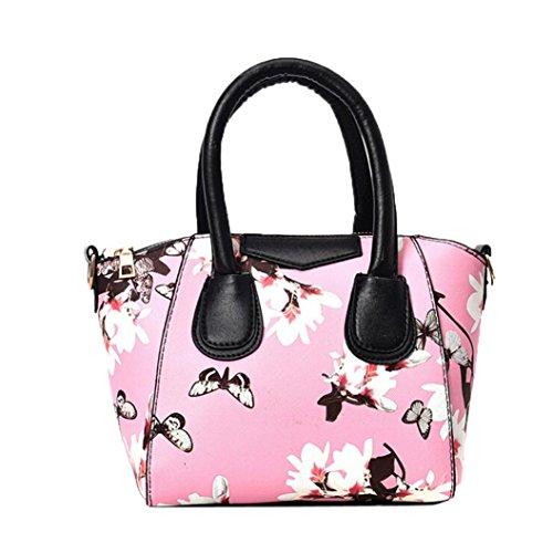 Bolso Satchel de las Mujeres, Mariposa Impresa Bolso del Bolsos Baguette de la Flor por Morwind (Negro) Rosa