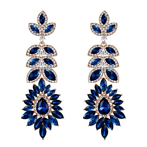 BriLove Women's Wedding Bridal Crystal Marquise Halo Chandelier Pierced Dangle Earrings Navy Blue Gold-Toned