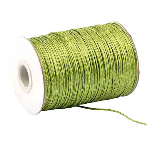 Yzsfirm 3.5mm 43 Yards Jewelry Making Beading and Crafting Macrame Olive Green Waxed Cord Thread for Braided Bracelet DIY Making ()