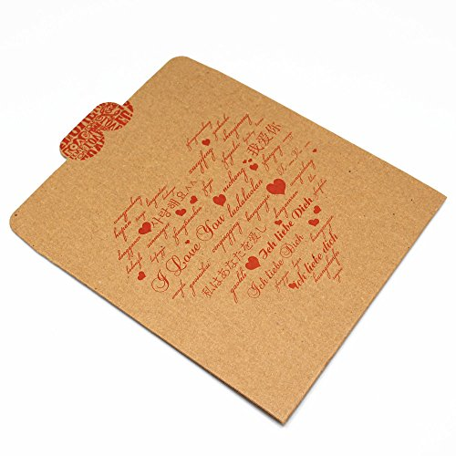 "12.5x12.5cm (4.9""x4.9"") Kraft Paper CD DVD Packaging Bag Storage Box Retail CD Case Cover Holder Envelope For Wedding Birthday Party CD Packaging Bag (30, HEART)"