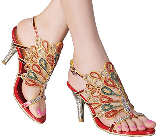 Abby Womens Sexy Nice Shining Surprising Evening Party Wedding Fashion Leather Stiletto Sandals Red 6M1Fcg0Q