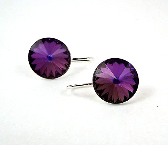 fec4ee43c0ec Dark purple rivoli rhinestone earrings made with swarovski crystals silver  toned hooks handmade jpg 579x500 14mm