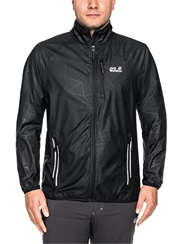 Jack Wolfskin Men's Flyweight Forest Leaf Jacket, Black All Over, XX-Large