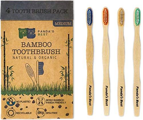 Bamboo Toothbrush | Biodegradable Eco-Friendly with Medium/Soft Bristles Natural Organic and BPA-Free| 4-Pack Moso Bamboo Toothbrush for Adults and Kids (4-Pack Medium Bristles)