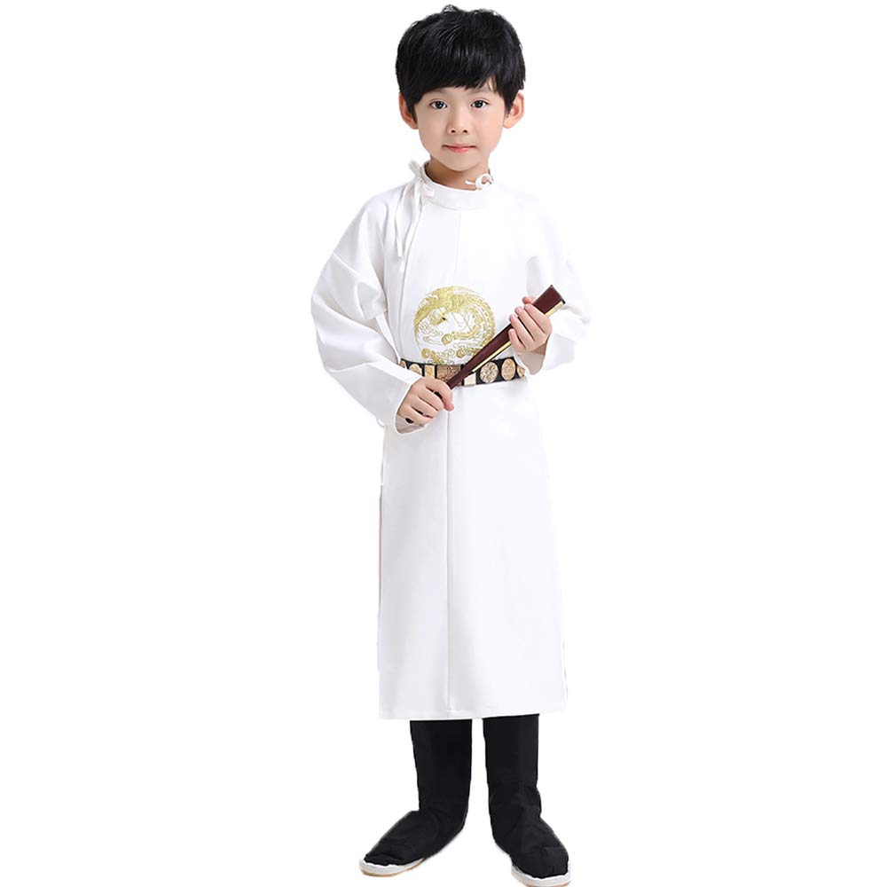 FXNN Hanfu-Chinese Style Tang Dynasty Round Neck Robe Chinese Learning Clothing (Color : White, Size : 140cm) by FXNN SHOP