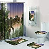 Philip-home 5 Piece Banded Shower Curtain Set Jurassic Dinosaur in The Jungle Trees Forest Nature Woods Scary Predator Violence Decorate The Bath