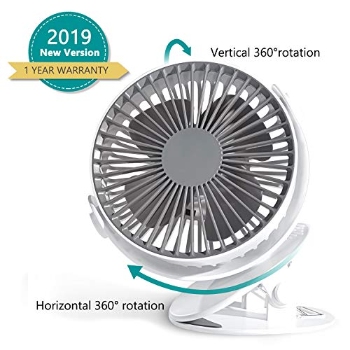 Stroller Fan Clip on Fan – 6 Inch 3 Speed Rechargeable Battery Operated Desk Fan – Small Personal Portable Fan for Baby Stroller