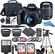 Canon EOS Rebel T7 DSLR Camera Bundle with Canon 18-55mm Lens + 2pc SanDisk 32GB Memory Cards + Accessory Kit
