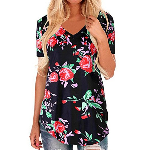 HAALIFE◕‿Women's Short Sleeve Loose Casual V-Neck Floral T-Shirt Tops Black