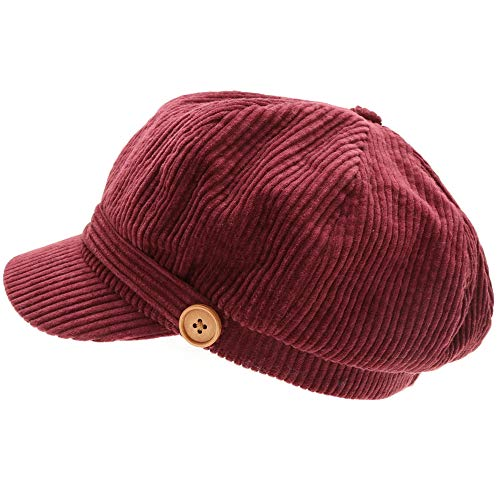 (MIRMARU Women's Classic Visor Baker boy Cap Newsboy Cabbie Winter Cozy Hat with Comfort Elastic Back (Corduroy Burgundy))