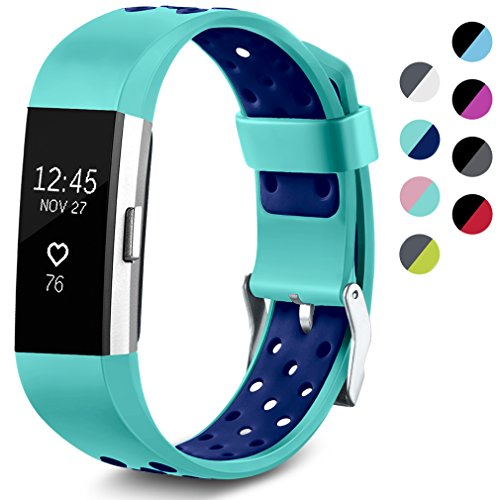 Maledan Replacement Sport Bands with Air Holes Compatible for Fitbit Charge 2, Teal/Blue, Small
