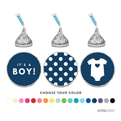 Andaz Press Chocolate Drop Labels Trio, Fits Hershey's Kisses, Boy Baby Shower, Navy Blue, 216-Pack