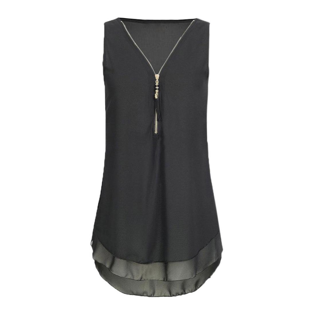fc080bf193adfb Qisc Womens Tops Women Casual Summer Chiffon Blouse V Neck Sleeveless Top  Shirts Zipper at Amazon Women s Clothing store