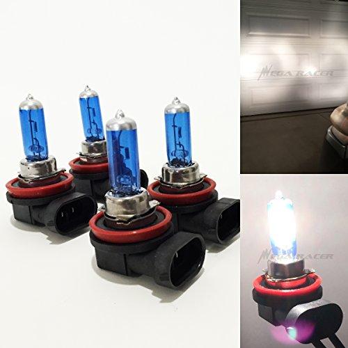 Mega Racer Combo 2 Pair H11 55W White 5000K Xenon Halogen Headlight Lamp Light Bulb (Low Beam) Replacement Auto (55w Beam Low)