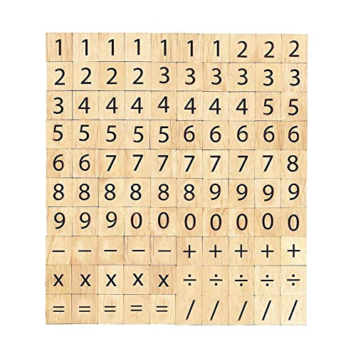 Abbaoww 100 Wooden Scrabble Numbers and Symbols-Great for Crafts, Pendants, Spelling,Scrapbooking