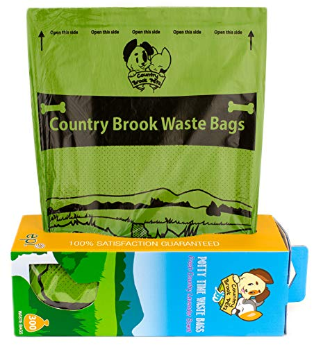 Country Brook Petz – Lavender Scented Potty Time Waste Bags – No Hassle Dog Poop Bags (Single Roll, 300 Count)
