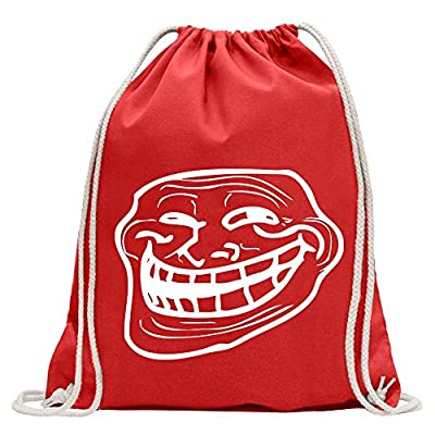 17c8fcb0e6 chic KIWISTAR - Troll Face - Coolface Fun backpack sports bag fitness  Gymbag shopping cotton with
