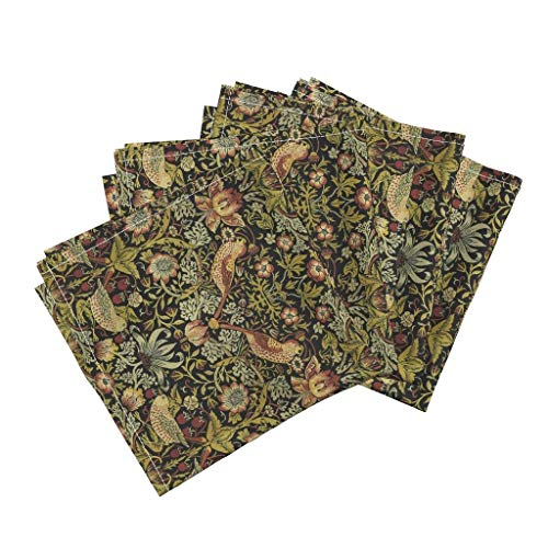 William Cotton Tapestry - Roostery William Morris Victorian Bird Strawberry Nature Tapestry Linen Cotton Dinner Napkins William Morris ~ Strawberry by Peacoquettedesigns Set of 4 Dinner Napkins
