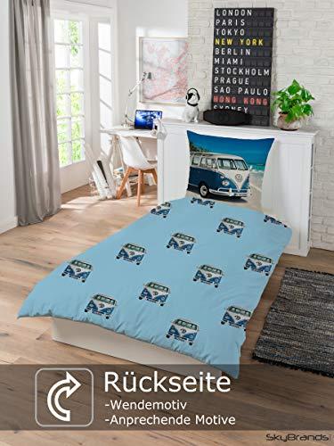51w5CCkF34L Bettwäsche VW Bulli 135x200 80x80 Kissenbezug [Wendemotiv] Baumwolle Bettbezug Volkswagen Bett Set [Mit Reißverschluss…