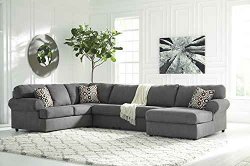 Custom Sectional Wood Frame - Jayceon Contemporary Steel Color Fabric Sectional Sofa