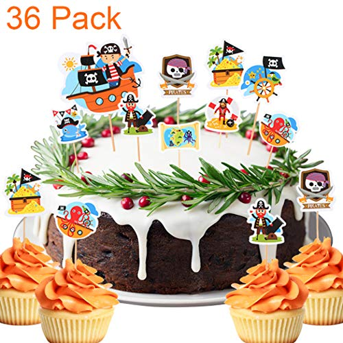 36 Pack A Pirate Boat Treasure Adventure Themed Cupcake Toppers For Baby Shower Kids Birthday Cake Fruit Doughnut Biscuits Party Toothpick Decorations. …