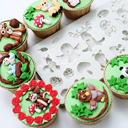 wedding Party Supplies Forest Animal Silicone Mold Cake Fondant Mold Clay Moulds Candy Sugar Chocolate Making Tool for Baby Shower Birthday Party