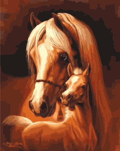 JynXos Wooden Framed Paint By Number Horses Linen Canvas DIY Painting - Mom And Son Horse
