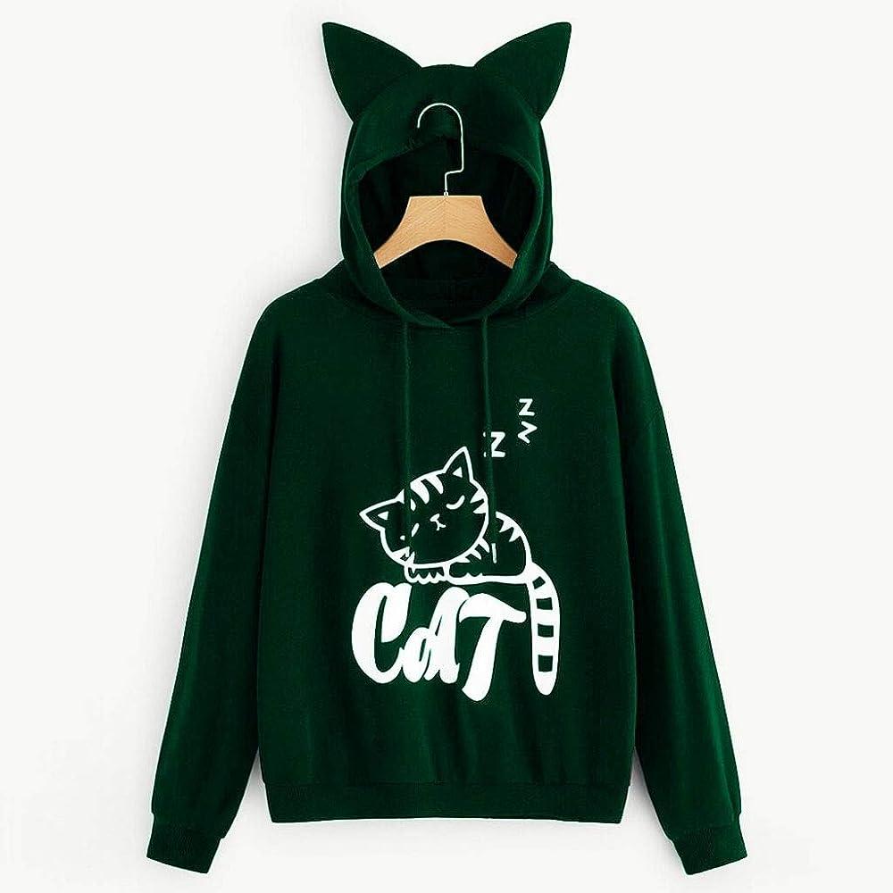 Luckycat Impresión de Gato Sudaderas con Capucha Mujer Caliente y ...