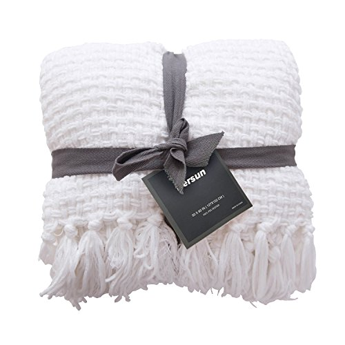 PERSUN Lightweight Throw Blanket Soft Decorative Knit Blankets with Fringe for Sofa Couch Home Decor, 50 x 60, White