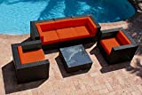 AKOYA Wicker Collection – 6 Piece Outdoor Patio Furniture Modern Sofa Couch Sectional Modular Set, Red